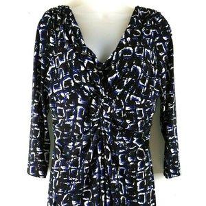 Chaps Black White Twist Front Dress